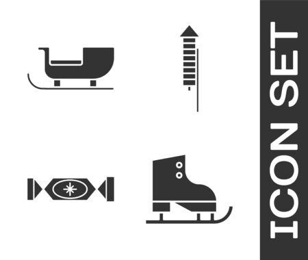 Set Figure skates, Christmas santa claus sleigh, Candy and Firework rocket icon. Vector