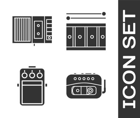 Set Music tape player, Music tape player, Guitar pedal and Drum with drum sticks icon. Vector