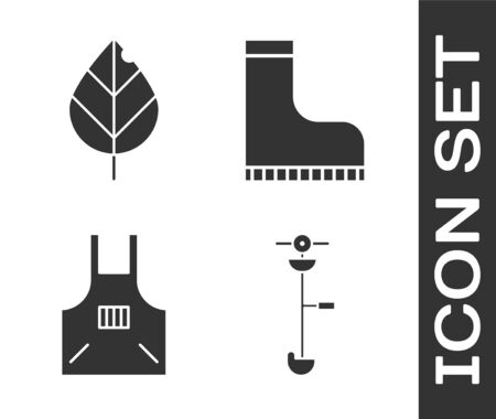 Set Grass and weed electric string trimmer, Leaf, Kitchen apron and Waterproof rubber boot icon. Vector