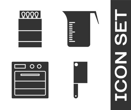Set Meat chopper, Open matchbox and matches, Oven and Measuring cup icon. Vector