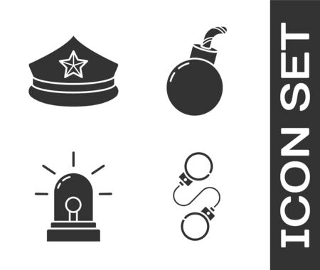Set Handcuffs, Police cap with cockade, Flasher siren and Bomb ready to explode icon. Vector