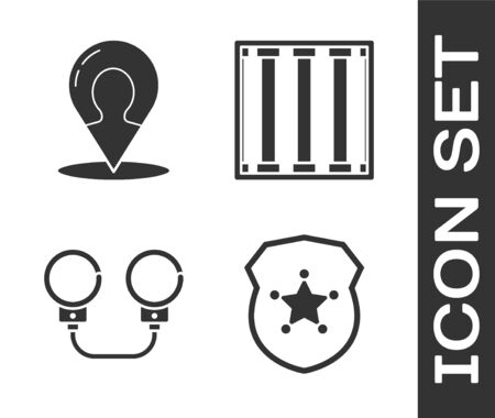 Set Police badge, Map marker with a silhouette of a person, Handcuffs and Prison window icon. Vector