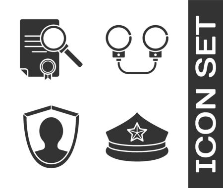 Set Police cap with cockade, Document with search, User protection and Handcuffs icon. Vector