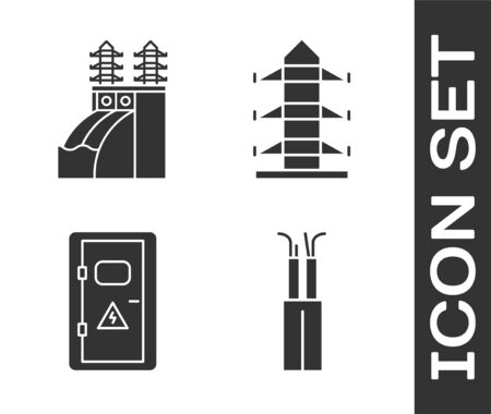 Set Electric cable, Nuclear power plant, Electrical cabinet and High voltage power pole line icon. Vector