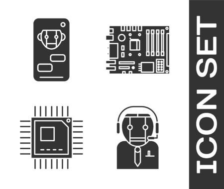 Set Worker robot, Bot, Processor with microcircuits CPU and Electronic computer components motherboard digital chip icon. Vector