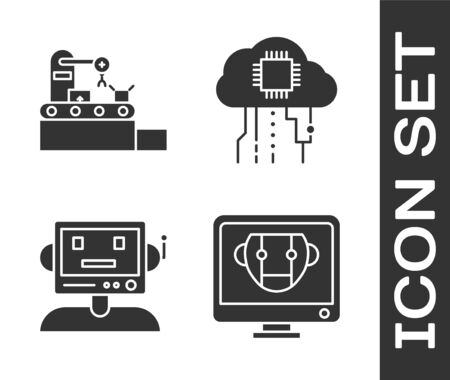 Set Bot, Factory conveyor system belt, Robot and Internet of things icon. Vector