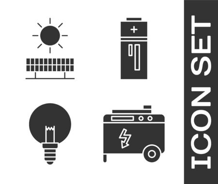 Set Portable power electric generator, Solar energy panel and sun, Light bulb and Battery icon. Vector