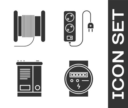 Set Electric meter, Wire electric cable on a reel or drum, Car battery and Electric extension cord icon. Vector