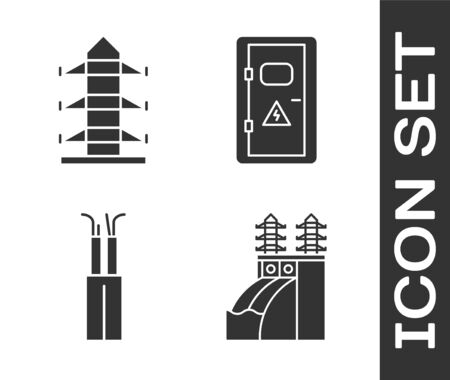 Set Nuclear power plant, High voltage power pole line, Electric cable and Electrical cabinet icon. Vector