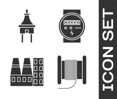 Set Wire electric cable on a reel or drum, Electric plug, Power station plant and factory and Electric meter icon. Vector Stock Illustratie
