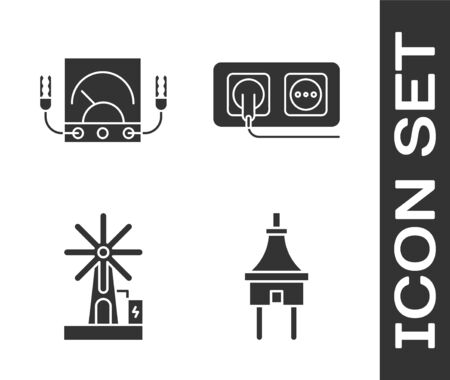 Set Electric plug, Ampere meter, multimeter, voltmeter, Wind turbine and Electrical outlet icon. Vector