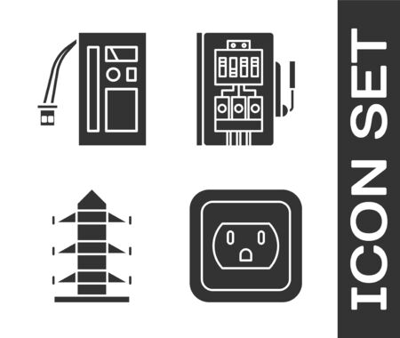 Set Electrical outlet in the USA, Battery, High voltage power pole line and Electrical panel icon. Vector Stock Illustratie
