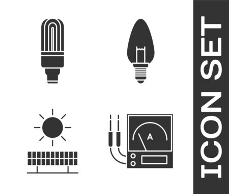 Set Ampere meter, multimeter, voltmeter, LED light bulb, Solar energy panel and sun and Light bulb icon. Vector