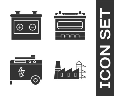 Set Power station plant and factory, Car battery, Portable power electric generator and Car battery icon. Vector Vector Illustratie