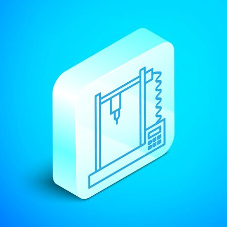 Isometric line 3D printer icon isolated on blue background. Silver square button. Vector Illustration