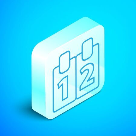 Isometric line Mathematics function cosine icon isolated on blue background. Silver square button. Vector Illustration Illustration