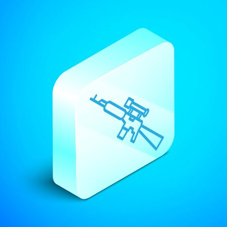 Isometric line Sniper rifle with scope icon isolated on blue background. Silver square button. Vector Illustration Illustration