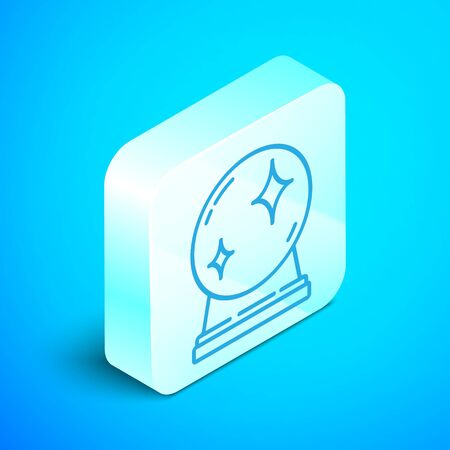 Isometric line Magic ball icon isolated on blue background. Crystal ball. Silver square button. Vector Illustration Stock Illustratie