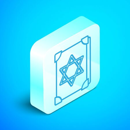Isometric line Ancient magic book with alchemy recipes and mystic spells and enchantments icon isolated on blue background. Silver square button. Vector Illustration Vettoriali