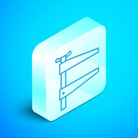 Isometric line Clamp tool icon isolated on blue background. Locksmith tool. Silver square button. Vector Illustration