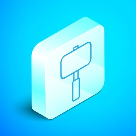 Isometric line Sledgehammer icon isolated on blue background. Silver square button. Vector Illustration