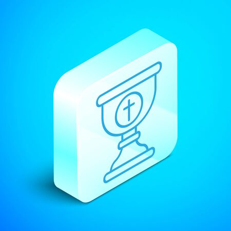 Isometric line Christian chalice icon isolated on blue background. Christianity icon. Happy Easter. Silver square button. Vector Illustration