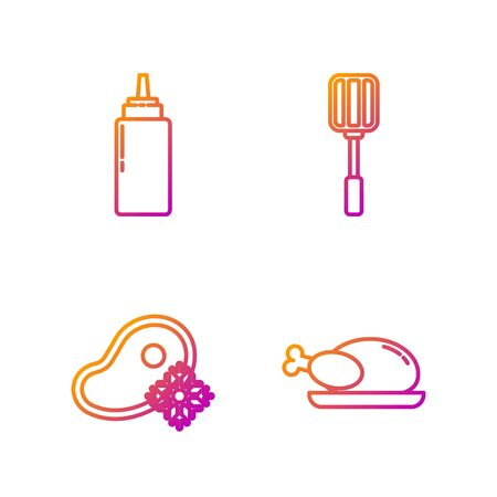 Set line Roasted turkey or chicken, Fresh frozen steak meat, Sauce bottle and Spatula. Gradient color icons. Vector