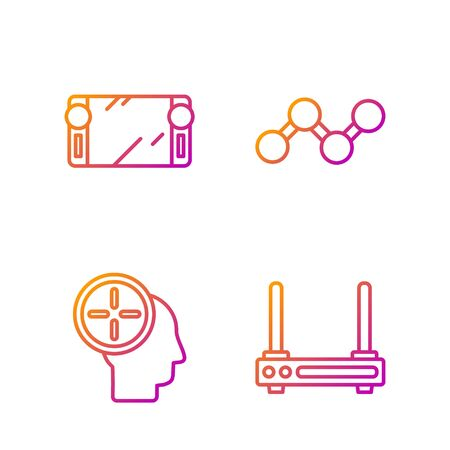 Set line Router and wifi signal, Head hunting concept, Portable video game console and Share. Gradient color icons. Vector
