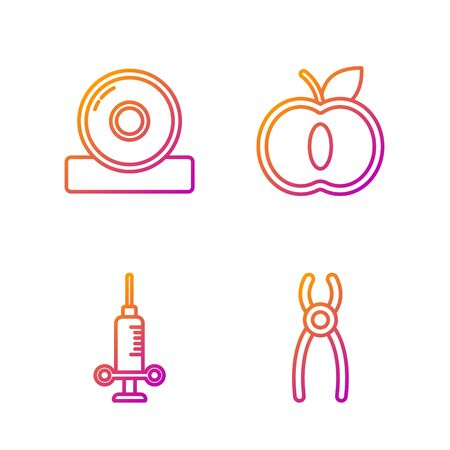 Set line Dental pliers, Dental medical syringe, Otolaryngological head reflector and Apple. Gradient color icons. Vector