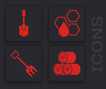 Set Roll of hay, Shovel, Honeycomb and Garden rake icon. Vector