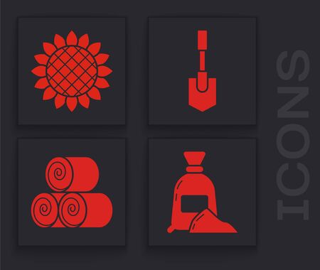 Set Bag of flour, Sunflower, Shovel and Roll of hay icon. Vector