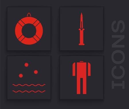 Set Wetsuit for scuba diving, Lifebuoy, Army knife and Cold and waves icon. Vector