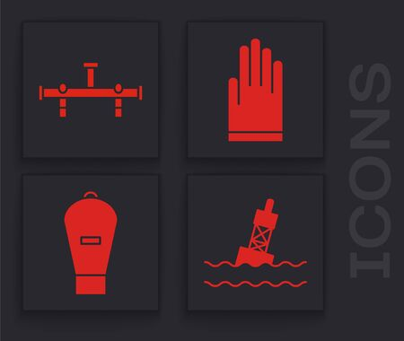 Set Floating buoy on the sea, Manifold, Gloves and Lift bag icon. Vector