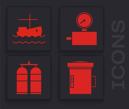 Set Big flashlight for diver, Fishing boat on water, Gauge scale and Aqualung icon. Vector