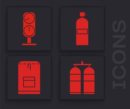Set Aqualung, Gauge scale, Aqualung and Backpack icon. Vector Ilustração