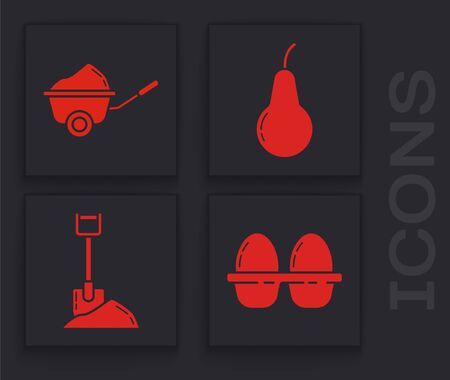 Set Chicken egg in box, Wheelbarrow with dirt, Pear and Shovel in the ground icon. Vector