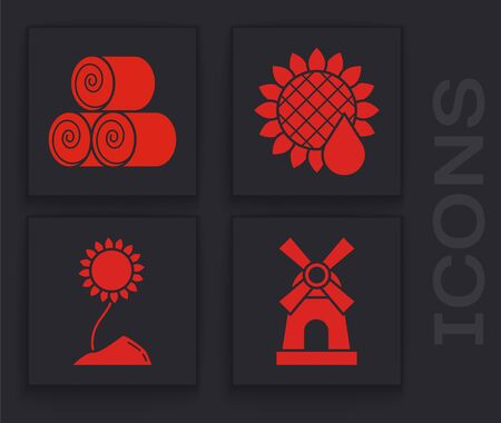 Set Windmill, Roll of hay, Sunflower and Sunflower icon. Vector