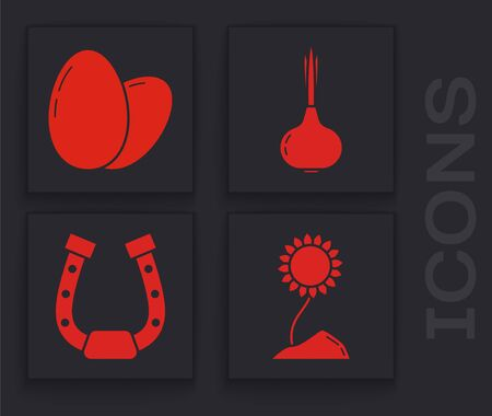Set Sunflower, Chicken egg, Onion and Horseshoe icon. Vector
