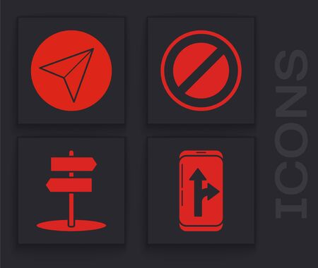Set Infographic of city map navigation, Paper airplane, Stop sign and Road traffic sign icon. Vector
