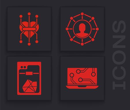 Set Laptop, Processor, Project team base and 3D printer icon. Vector