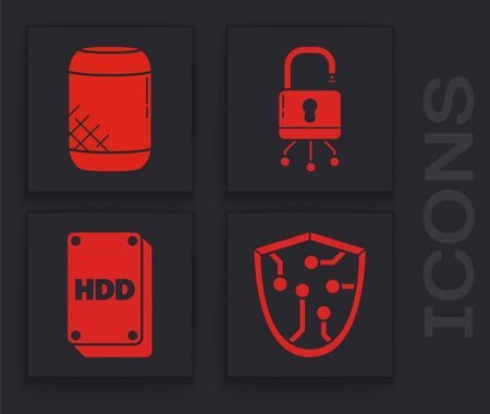 Set Cyber security, Voice assistant, Lock on digital circuit board and Hard disk drive HDD icon. Vector Ilustração