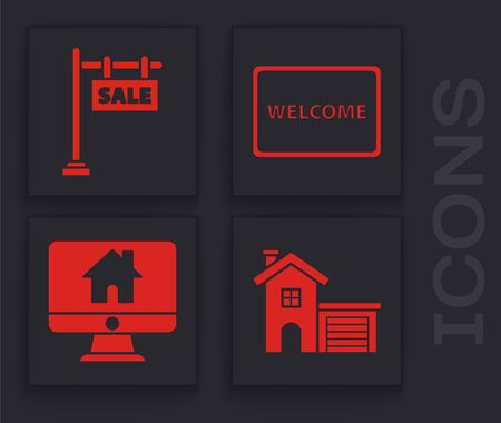 Set House, Hanging sign with text Sale, Doormat with the text Welcome and Computer monitor with smart home icon. Vector