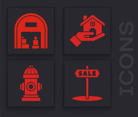 Set Hanging sign with text Sale, Warehouse, Realtor and Fire hydrant icon. Vector