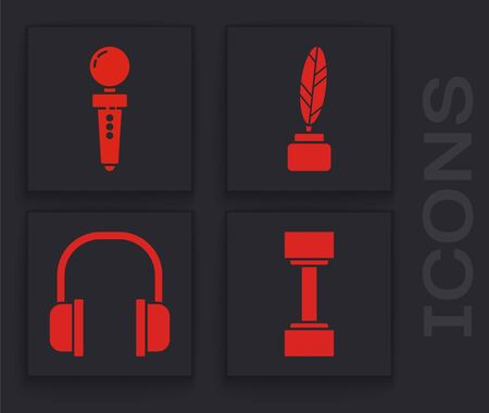Set Dumbbell, Joystick for arcade machine, Feather and inkwell and Headphones icon. Vector