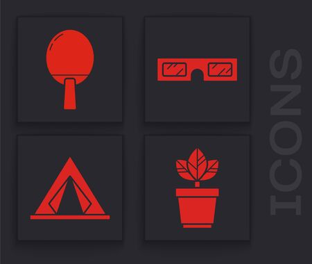 Set Flowers in pot, Racket for playing table tennis, 3D cinema glasses and Tourist tent icon. Vector Vectores