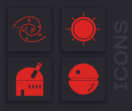 Set Death star, Black hole, Sun and Astronomical observatory icon. Vector 일러스트