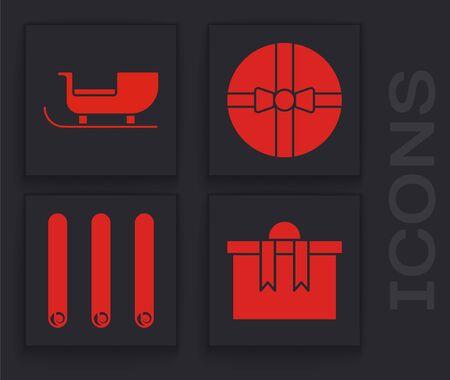 Set Gift box, Christmas santa claus sleigh, Gift box and Three rolled sticks of cinnamon icon. Vector Stock Illustratie