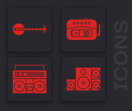Set Stereo speaker, Banjo, Music tape player and Home stereo with two speakers icon. Vector