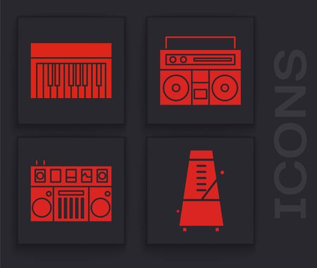 Set Metronome with pendulum in motion, Music synthesizer, Home stereo with two speakers and DJ remote for playing and mixing music icon. Vector