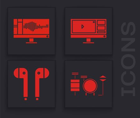 Set Drums, Sound or audio recorder on monitor, Video recorder or editor software on monitor and Air headphones icon. Vector